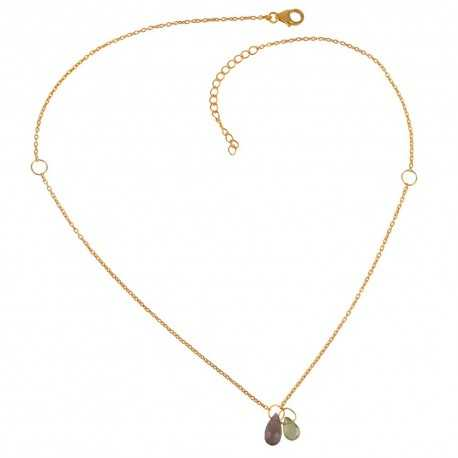 Matinee Style Necklace Smoky Quartz and Peridot Drop Necklace Small Gold Plated Silver Necklace