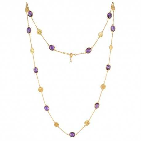 Opera Necklace Amethyst and Filigree Charm Gold Plated Silver Long Necklace for Womens and Girls