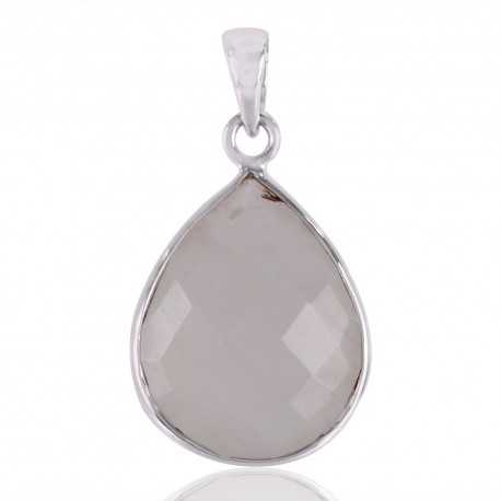 Rainbow Moonstone Tear Drop Bezel Set Pendant Sterling Silver