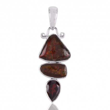 Canadian Ammolite and Garnet Three Gemstone Silver Pendant Necklace