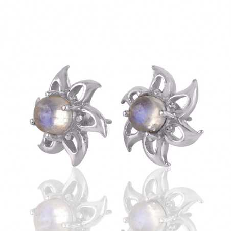 Rainbow Moonstone Solid Silver Designer Flower Stud Earrings