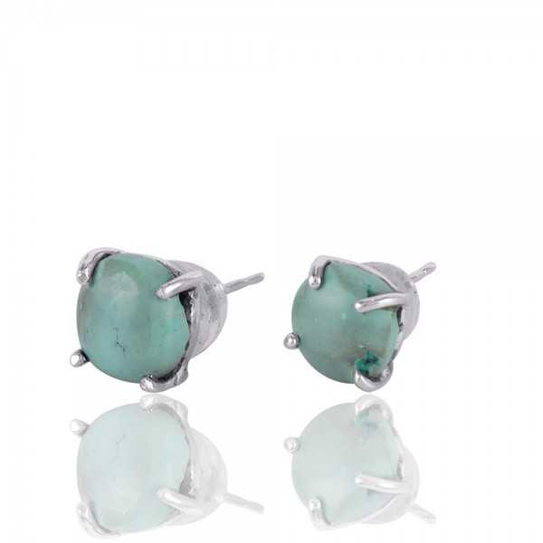 Tibetan Turquoise Prong Set Silver Studs Earring