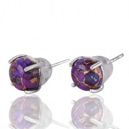 Purple Copper Turquoise Small Silver Studs Earrings