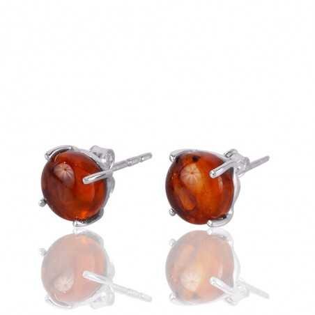 Amber and 925 Silver Prong Set Simple Stud Earring