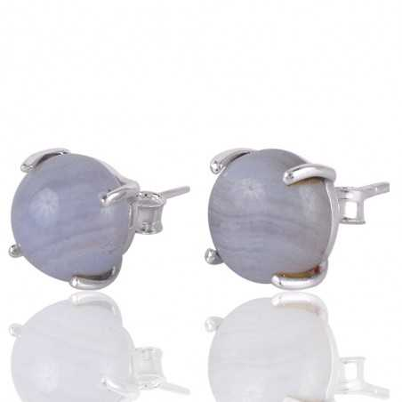 Blue Lace Agate and 925 Silver Gemstone Stud Earring