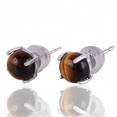925 Silver and Tiger Eye Gemstone Studs Earrings