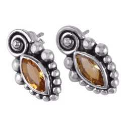 Citrine and Silver Stud for Teen Girls Designer Earring