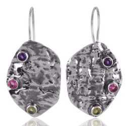 Pink Tourmaline Amethyst and Peridot Solid Silver Handmade Hammered Earring