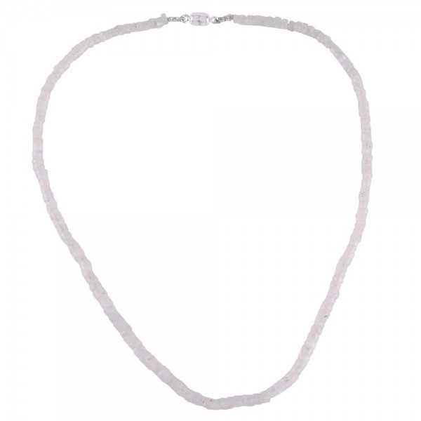 Rainbow Moonstone Beaded Silver Necklace