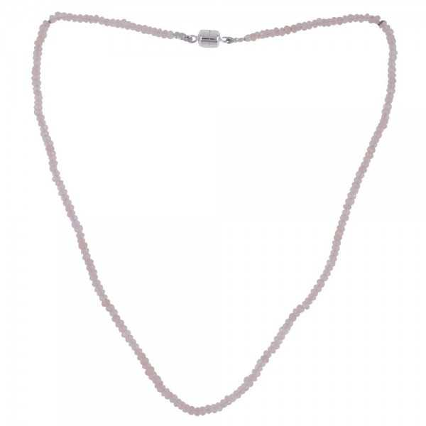 Rose Quartz Beads and Silver Beads Necklace