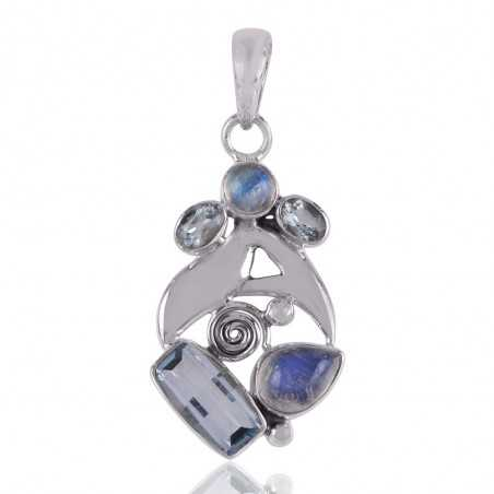 Rainbow Moonstone and Blue Topaz Silver Gemstone Pendant Necklace