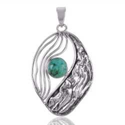 Tibetan Turquoise and Silver Handmade Hammered Pendant Necklace