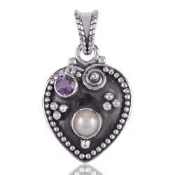 Pearl and Amethyst Sterling Silver Heart Shape Love Pendant Necklace