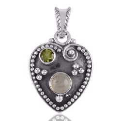 Peridot and Prehnite Solid Silver Heart Love Pendant Necklace
