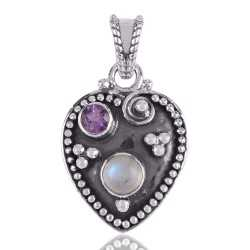 Amethyst and Rainbow Moonstone Hear Love Silver Pendant Necklace