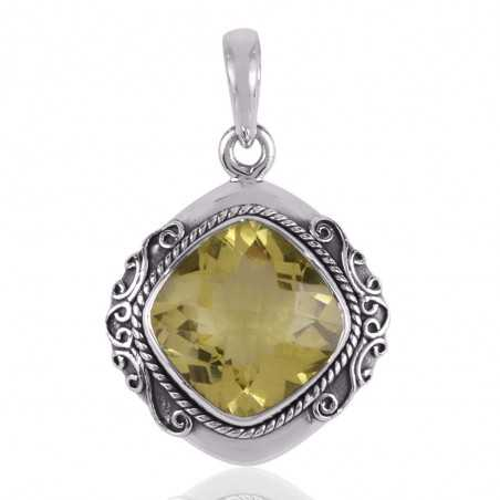 Lemon Quartz Sterling Silver Gemstone Pendant Necklace