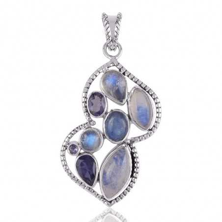 Rainbow Moonstone Iolite and Kyanite Silver Gemstone Pendant Necklace