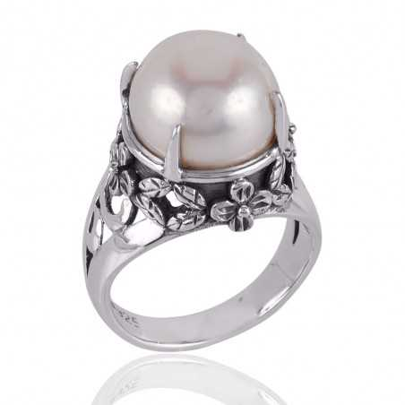 White Pearl and 925 Silver Designer Ring