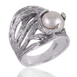 Pearl and Silver Hand Scratched Claw Set Designer Ring