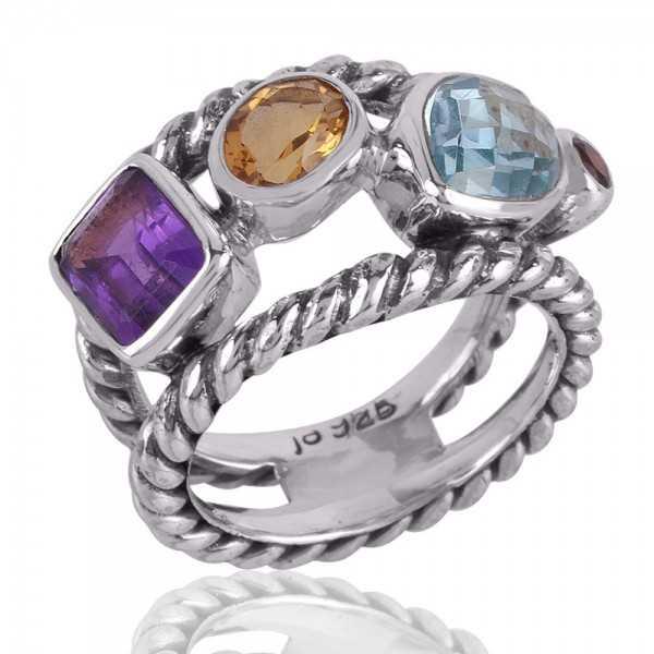 Amethyst Citrine Blue Topaz and Garnet Multi Color Gemstone Silver Ring