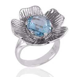 Blue Topaz BT and Silver Lotus Ring Unique Textured Designer Ring