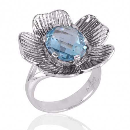 Blue Topaz BT and Silver Lotus Ring Unique Textured Designer Ring