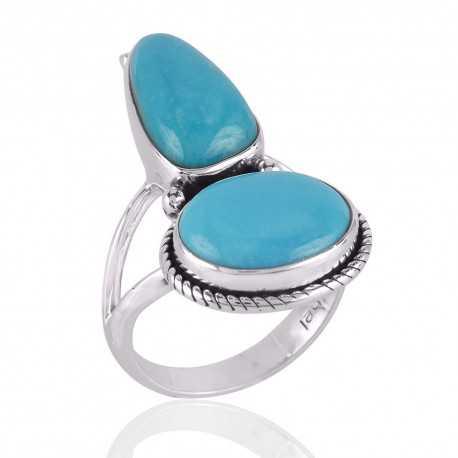 Natural Arizona Turquoise Gemstone 925 Sterling Silver Ring