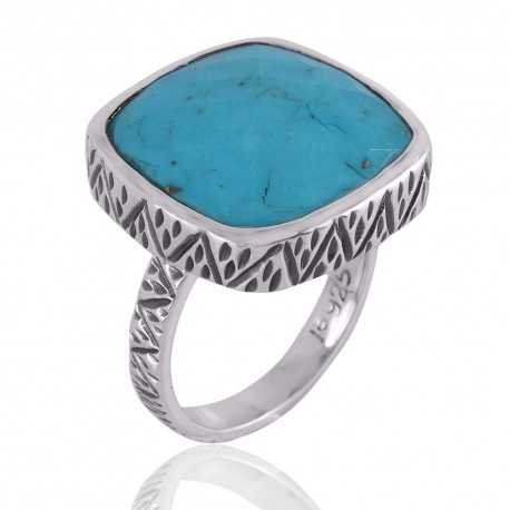 Arizona Turquoise Gemstone Textured Solid Silver Ring