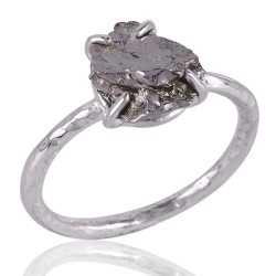 Meteorite Rough Gemstone 925 Sterling Silver Ring