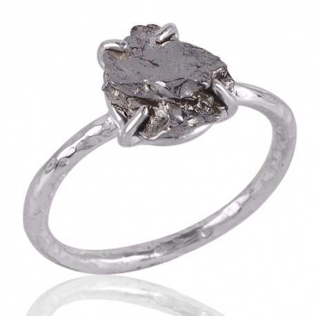 Meteorite Rough Gemstone 925 Sterling Silver Ring
