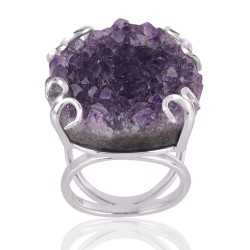Amethyst Drusy Sterling Silver Prong Ring