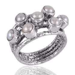 South Sea Pearl Ring Sterling Silver Designer Ring