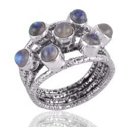 Rainbow Moonstone Ring Sterling Silver Designer Ring