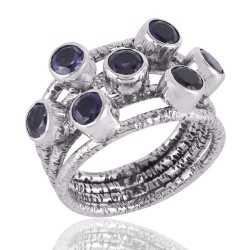 Natural Iolite Ring Sterling Silver Designer Ring