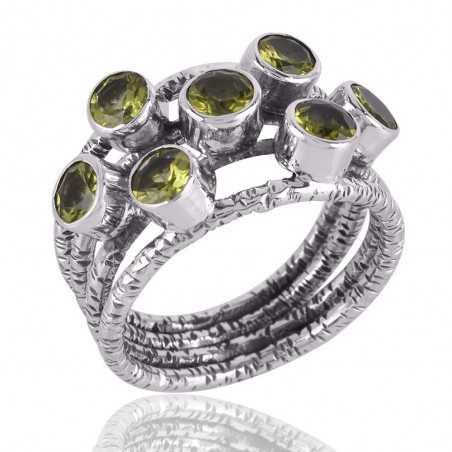 Genuine Gemstone Peridot Ring Sterling Silver Designer Ring