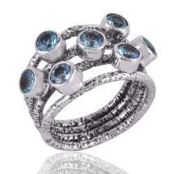 BT AKA Blue Topaz Ring Sterling Silver Designer Ring