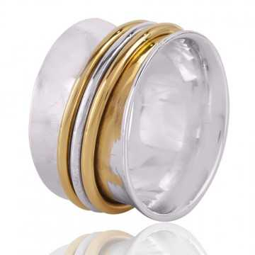 Solid Sterling Silver and Brass Mix Two Tone Spiner Ring for Men and Women Both
