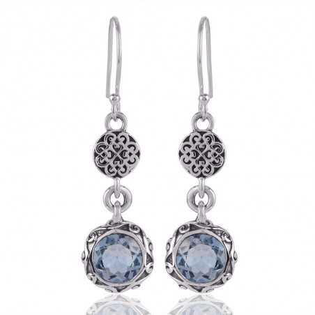 Blue Topaz Gemstone Dangler Earring Sterling Silver Trendy Jewelry