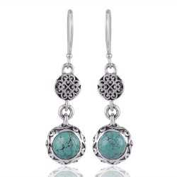 Tibetan Turquoise Silver Earring for Girls Birthstone Jewelry