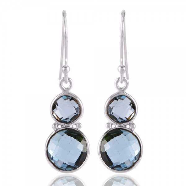 Blue Topaz Two Stone Briolite Gemstone Earring Sterling Silver