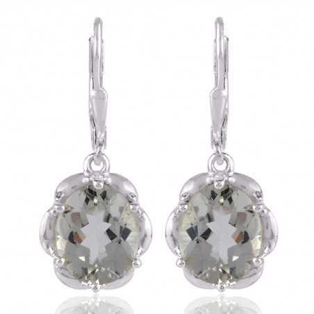 Sterling Silver Green Amethyst Gemstone Earring for Womens