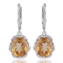 Solid Silver and Citrine Gem Silver Earring Yellow Gem Stone Earrings
