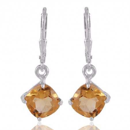 Quality Gemstone Citrine Dangle Earring 925 Silver Jewelry