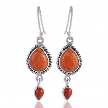 Spunge Coral and Red Coral Drop Earring Silver Coral Earring