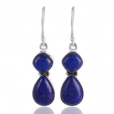 Lapis Lazuli Tear Drop Silver Earring Two Stone Silver Jewelry