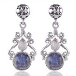 Rainbow Moonstone Round Stone Designer Silver Earring