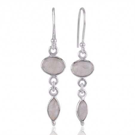 Rainbow Moonstone Dangle Drop Silver Earring everyday Wear Earrings