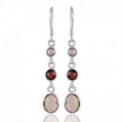 Pearl Garnet and Citrine Thre Stone Dangle Earring Sterling Silver