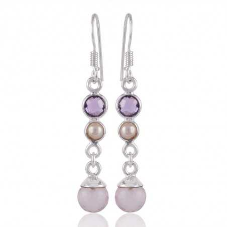 Rose Quartz Drop Amethyst and Pearl Long Dangle Silver Earring for Girls