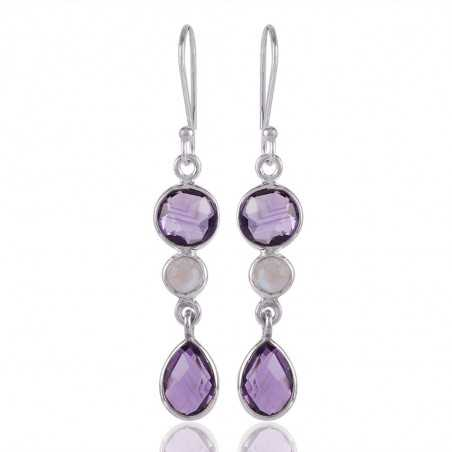 Amethyst and Rainbow Moonstone Dangle Drop Solid Silver Earring